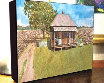 "Louisiana Cotton Field, Goats, Shotgun House Folk Art ""Goats For Sale"" 8x10x1.5"" and 11x14x1.5"" Gallery Wrap Canvas Print"