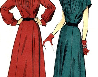 1940s Dress Pattern Advance Vintage Sewing Tucked Front Unprinted Women's Misses Size 12 Bust 30 Inches