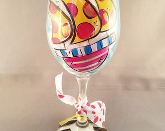 Anchors Aweigh Hand Painted Wine Glass
