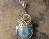 Larimar - Larimar Necklace - Larimar Pendant - Larimar Jewelry - Larimar Jewellery - Wire Wrapped - Silver - Dominican - Unique - Handmade