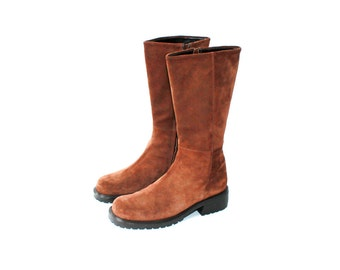 1990's Joan & David Dark brown Suede Mid Calf Boots