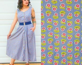 1990s Vintage Blue Floral Cotton Day Dress Sleeveless Button Up Dress with Pockets Bright Pink Floral Tea Length Dress Size Medium