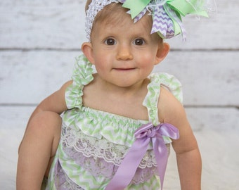 Easter Baby Girl Outfit,Baby Girl 1st Birthday Outfit,Lavender and Mint Green Romper,Baby Girl Rompers,Mint and Lavender Birthday Photo Prop