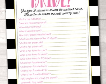 Printable How Well Do You Know the Bride Bridal Shower Game Instant Download PDF