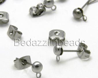 20 Dark Silver Stainless Surgical Steel 4mm Half Ball With Loop Post Earring Findings