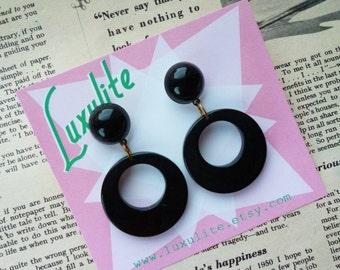 Sassy n simple! Sweater girl drop hoop earrings in Inky Black handmade 50s style by Luxulite