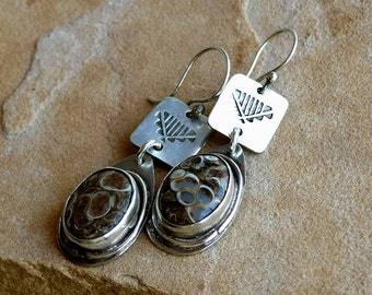 Stamped Silver & Turitella Fossil Agate Stones in Sterling Silver Dangle Earrings . Rustic Boho Tribal Southwest Style Jewelry