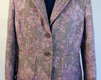Light purple brocade wool blend jacket