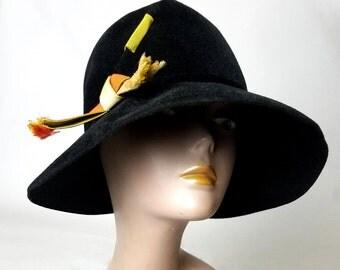 Mr. John black velvet hat | vintage felt hat | vintage 70s hat