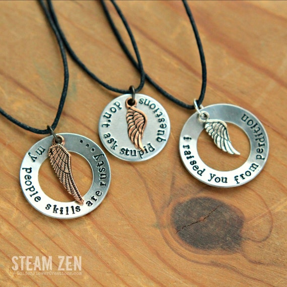 "Supernatural Angel Castiel ""My People Skills Are Rusty"" and Famous Quotes Necklace - Supernatural Fandom Necklace - Angel Cas Fan Gift -"