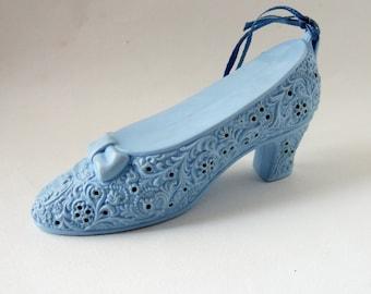 Vintage Shoe Pomander by Avon - Kitsch 1970s Scented Blue Plastic Pomander Ornament