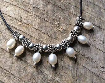 Pearl Necklace, Pearl Leather Necklace, Pearl Statement Necklace