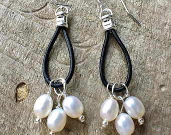 Sale - Pearl Leather Earrings, Pearl Dangle Earrings, Pearl Boho Earrings, June Birthstone