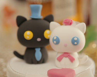 cat and  kitty Wedding Cake Topper---k821