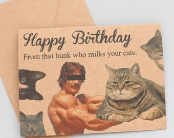 Hunk cats birthday card and envelope - birthday card - funny birthday card funny gift funny present cat birthday