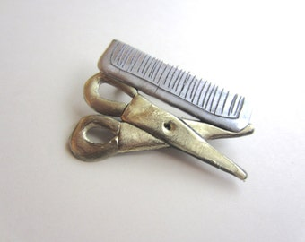 Hairdresser Scissors and Comb Pin Brooch