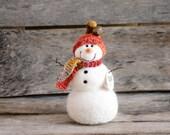 Needle Felt Snowman - Needle Felted Snowman - Christmas Snowman - Christmas Decoration - Christmas Decor -  Wool Snowman - Winter Décor -840