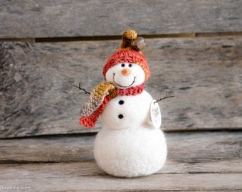 Needle Felt Snowman - Needle Felted Snowman - Christmas Snowman - Christmas Decoration - Christmas Decor -  Wool Snowman - Winter Décor -840