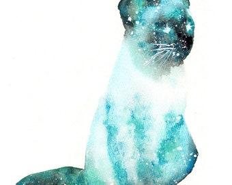 Cat Spirit Animal ORIGINAL Watercolor Painting 9x12 Totem Guide