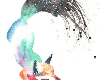 Fox 2 Galaxy Spirit Animal Art Print Watercolor, Totem Guide