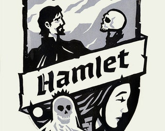 "William Shakespeare's HAMLET - 11""x14"" linocut print"