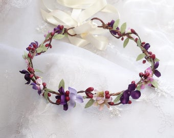 burgundy flower crown, floral headband, eggplant wedding, burgundy headband, dark purple flower crown, bridal headpiece, bridesmaid hairband