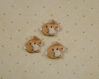 Brown Rabbit Button set of 3