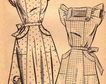 1940s Mail Order 2224 Vintage Sewing Pattern Misses Pinafore Dress Size 16 Bust 34