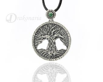 Tree of Life - carved, silver pendant with aventurine, unisex, limited collection