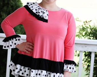LALA Peplum High Low GRETCHEN Shirt Top Modest