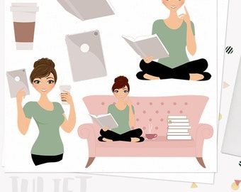 Book lover woman character clipart, reading books clipart set with blonde, brunette and auburn hair (Juliet L145)