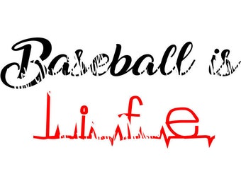 Baseball Is Life Cutting File SVG, PNG, DXF, Silhouette, Cameo