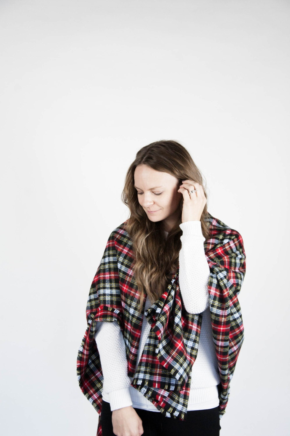 ready to ship    large blanket scarf fringe plaid flannel