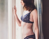 Navy lace bra and panty set/ Honeymoon Lingerie/ sexy lingerie/ Bralette set / soft set /lace, see through, gift for her, christmas,