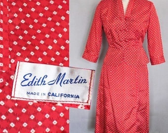28 waist, Vintage Red Suit / New Look Hourglass 1950s / Dotty Red Taffeta / Vintage 50s Betty Page, Rockabilly Bombshell, I Love Lucy, small