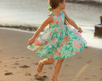 ON SALE Girls Mermaid Dress - Sea Creatures Dress - Coral Under the Sea Dress - Mermaid Beach Dress - Girls Dolphin Dress