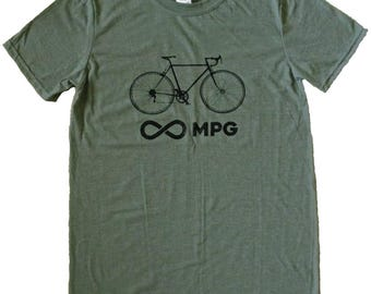 Men's Bicycle Infinity Miles Per Gallon MPG Unlimited Bike Cyclist T-Shirt - Sizes S, M, L, XL