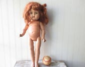 Vintage composition doll Shabby compo hard plastic head doll redhead sleep eyes bad leg paint AS IS for parts projects or rehab