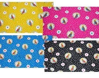 Echino by Etsuko Furuya - Cotton Linen Fabric - Cockatiel EF703, 4-pc  set fat quarters