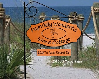 Custom Wood Sign with 1 Add-On - Beach Lake Cottage Sign - Heron Oval JGWoodSigns Etsy Wood Carved Signs Wooden Name Sign Payne