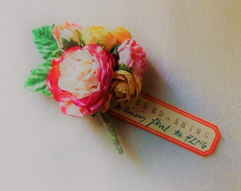 Strawberry Lemonade pink yellow Roses daisy Mixed bunch Vintage style Millinery Flower spray Bouquet