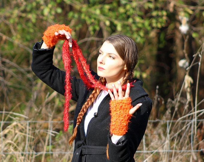 Fuzzy Sparkly Red Skinny Scarf and Orange Fingerless Texting Gloves Set Long Soft Accesory  Gift for Girls, Teens or Women