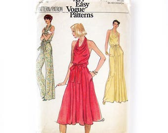 1970s Jumpsuit and Dress Pattern Very Easy Vogue / Cowl Neck Evening or Day Dress / Disco Halter Dress / Vogue 9831 / Size 10