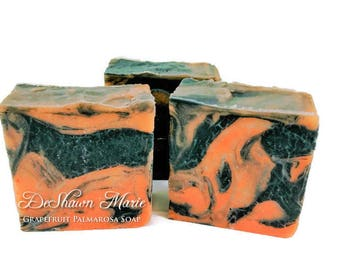 SALE SOAP - Grapefruit Palmarosa Soap, Vegan Soap, Cold Process Soap, Natural Soap, Activated Charcoal Soap, Christmas Gift, Mother's Day Gi
