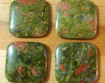 Natural Unakite Cabochon Cab  - 30mm cushion cabochon square  - calibrated size  - Pretty Antique Pink on Greens - First quality stones