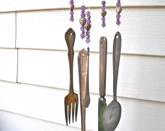 "SILVERWARE WIND CHIMES  WindChimes from REcYcLed /REpurposed Silverware w/ silver ""Love"" hearts & lavender/purple glass beads-aWeSoMe Gift"