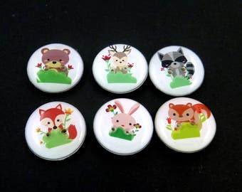 "Animal Buttons.  Set of 6 handmade sewing buttons. 3/4"" or 20 mm.  Forest Animal Buttons.  Bear, Deer, Rabbit, Squirrel, Fox and Raccoon."