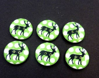"6 Lime Green Polka Dot and Deer Sewing Buttons.  3/4"" or 20 mm Round.  Washer and dryer safe."