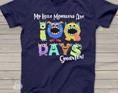 Teacher shirt - 100 Days Smarter monsters -DARK- fun hundred day shirt for teachers T100DV