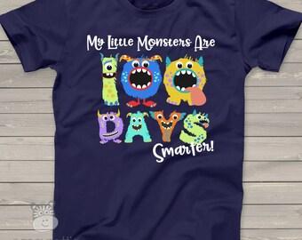Teacher shirt - 100 Days Smarter monsters -DARK- fun hundred day shirt for teachers MSCL-015